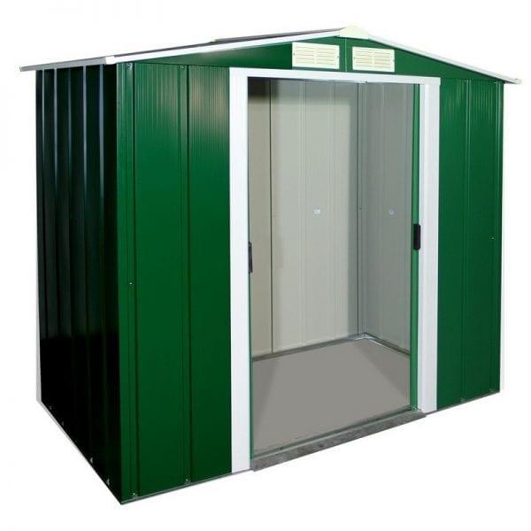 Metal Shed Green - 6ft x 4ft Sapphire - Doors Open