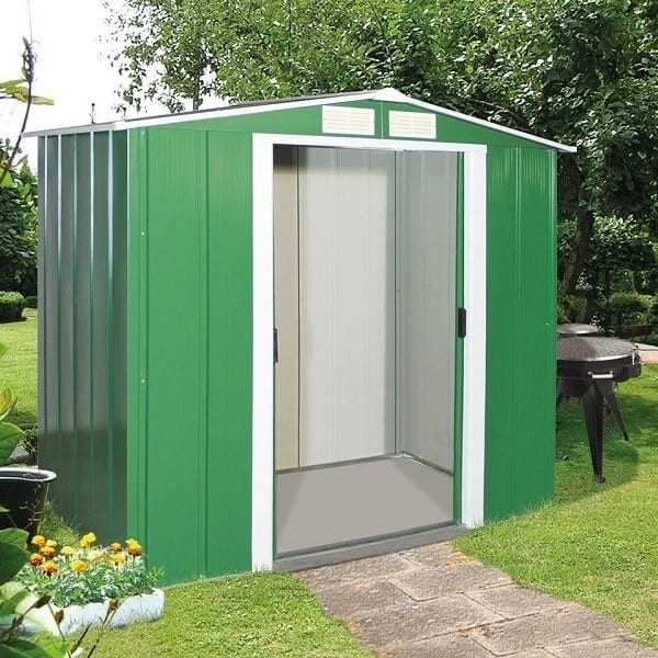 Metal Shed Green - 6ft x 4ft Sapphire - In Place