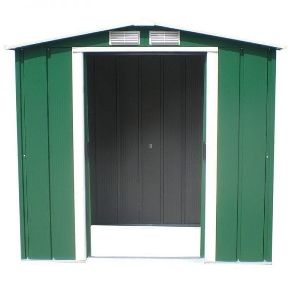 Metal Shed Green - 6ft x 6ft Sapphire - Doors Open