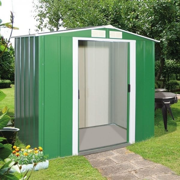 Metal Shed Green - 6ft x 6ft Sapphire - In Situ