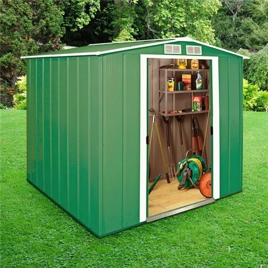 Metal Shed Green - 6ft x 6ft Sapphire - In Use