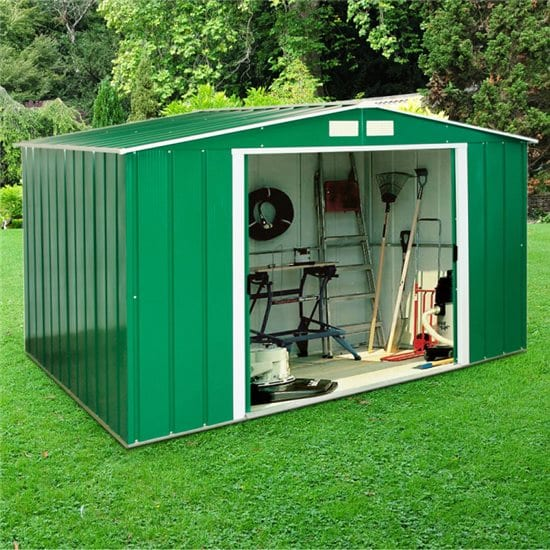 Metal Shed Green - 8ft x 6ft Sapphire - In Situ