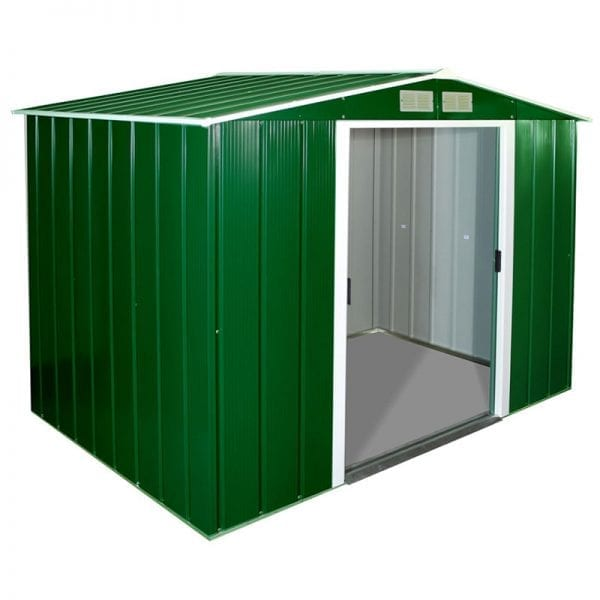 Metal Shed Green - 8ft x 6ft Sapphire - Open Doors