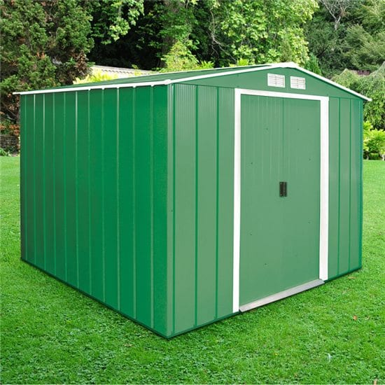 Metal Shed Green - 8ft x 8ft Sapphire - In Place