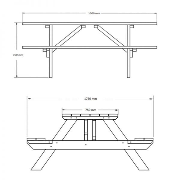Pantheon Picnic Table - Dimensions