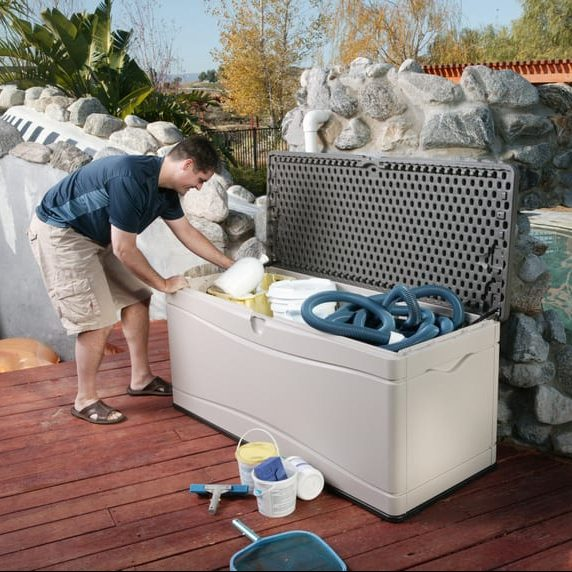Plastic Outdoor Storage Box - Lifetime 500L - In Use3