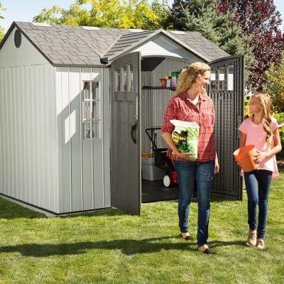 Plastic Outdoor Storage Shed Lifetime 10ft x 8ft - In Use1