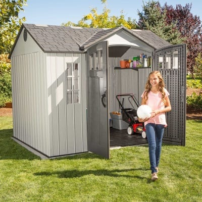 Plastic Outdoor Storage Shed Lifetime 10ft x 8ft - In Use2