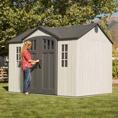 Plastic Outdoor Storage Shed Lifetime 10ft x 8ft - In use3
