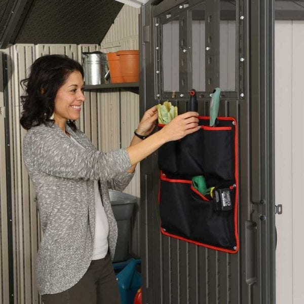 Plastic Outdoor Storage Shed Lifetime 17.5ft x 8ft - Tool Bag In Use