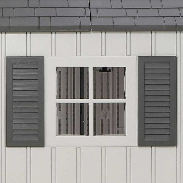 Plastic Outdoor Storage Shed Lifetime 17.5ft x 8ft - Window & Shutters