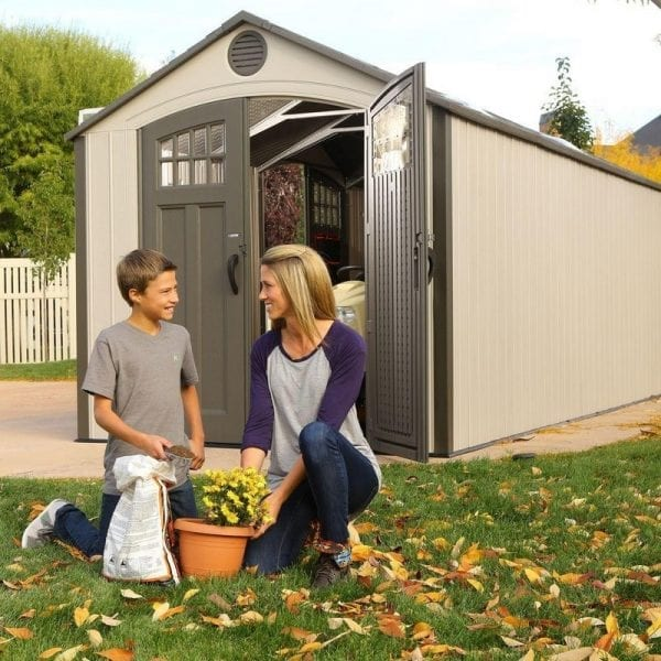 Plastic Outdoor Storage Shed Lifetime 20ft x 8ft - In Use