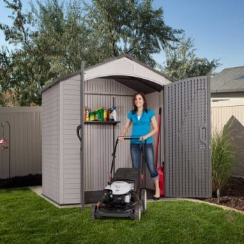 Plastic Outdoor Storage Shed Lifetime 7ft x 4.5ft - In Use