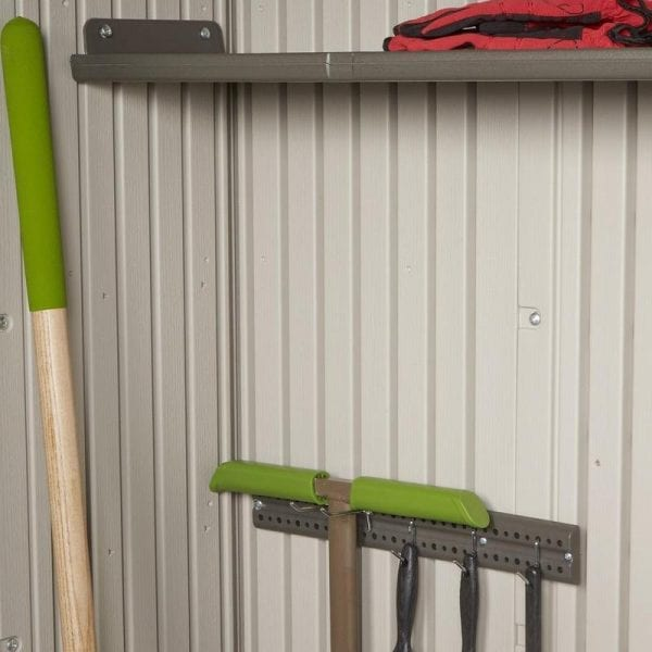 Plastic Outdoor Storage Shed Lifetime 8ft x 5ft - Hooks and Shelf