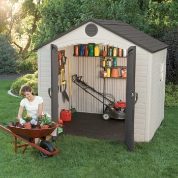 Plastic Outdoor Storage Shed Lifetime 8ft x 7.5ft - In Use