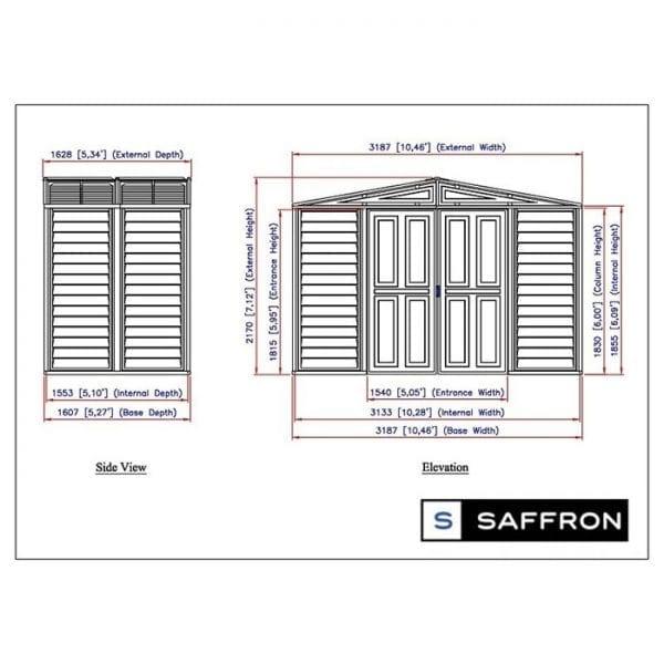 Plastic Shed - 10x5 Saffron Ivory Dimensions