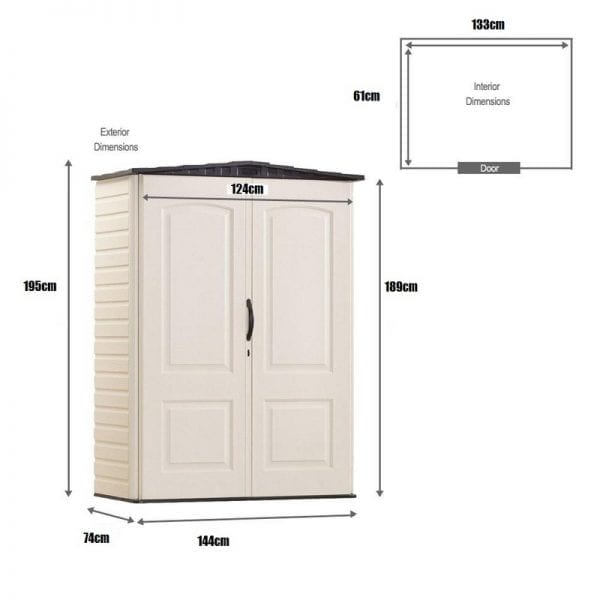Plastic Shed 5'x2' - Rubbermaid Dimensions