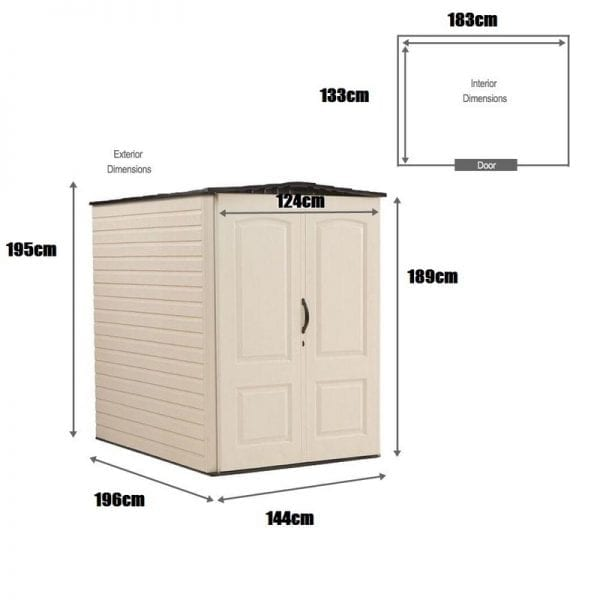 Plastic Shed 5'x6' - Rubbermaid Dimensions