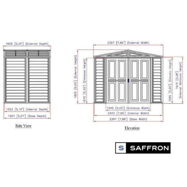 Plastic Shed - 8x5 Saffron Ivory Dimensions