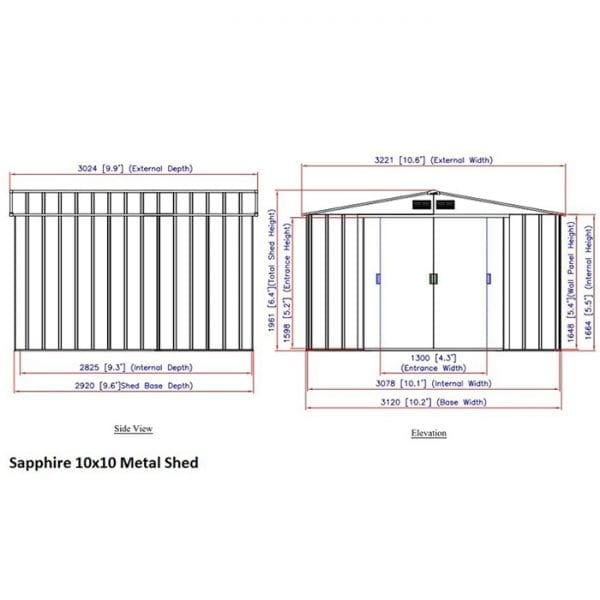 Sapphire 10x10 Metal Shed - Dimensions