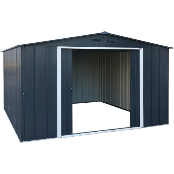 Sapphire 10x10 Metal Shed - Doors Open