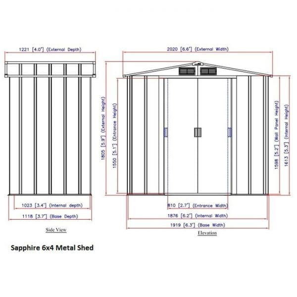Sapphire 6x4 Metal Shed - Dimensions