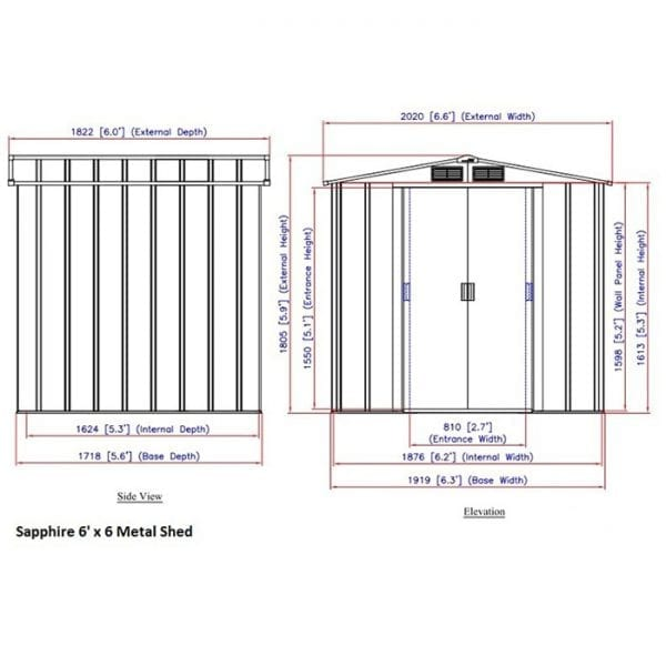Sapphire 6x6 Metal Shed - Dimensions