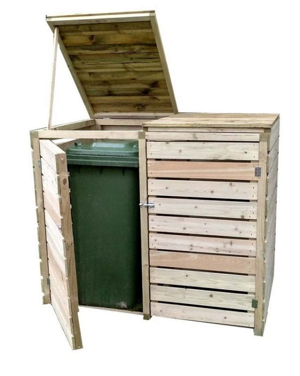 Wooden Double Bin Store Pantheon Open - White Background