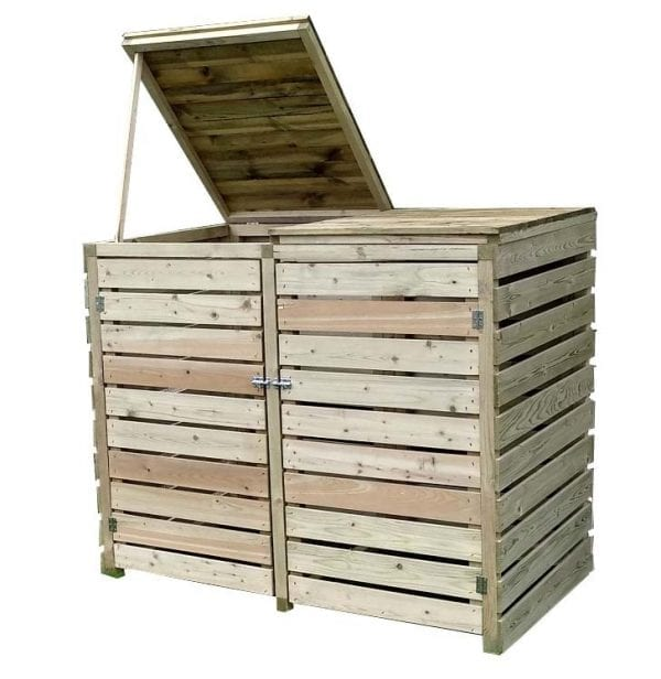 Wooden Double Bin Store Pantheon - White Background