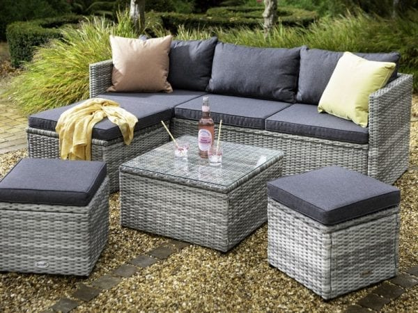 Cirrus Chaise Lounge Set with Stools