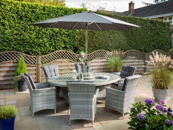 Heritage 6 Seat Elliptical Garden Dining Set