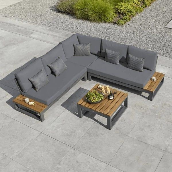Soho Corner Sofa With Teak Side Tables