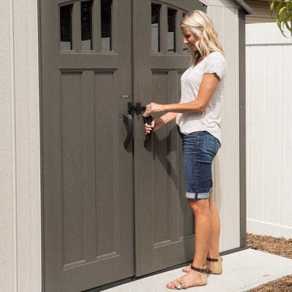 17.5' x 8' Double Door Plastic Shed - Doors