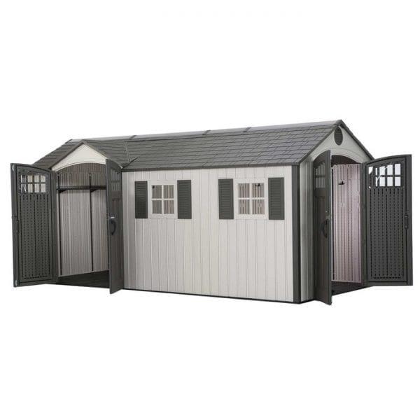 17.5' x 8' Double Door Plastic Shed - Doors Open