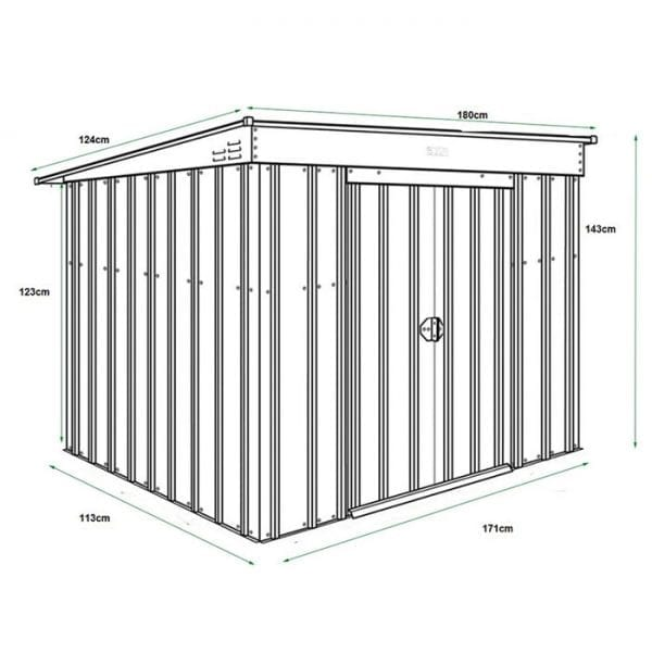 6x4 Low Pent Shed Lotus - Dimensions