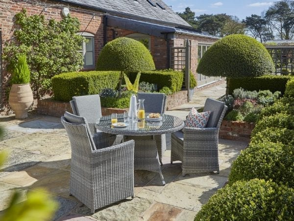 Burnham XL Four Seat Garden Dining Set - In Situ