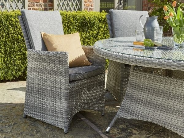 Burnham XL Four Seat Outdoor Dining Set - Chair Close Up