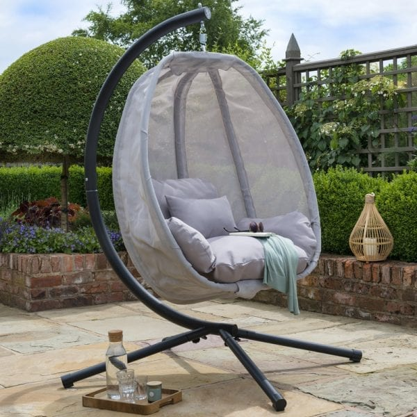 Folding Textilene Swing Chair Grey