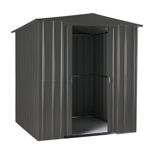 Metal Shed 6x3 - Black Lotus Apex - Doors Opened