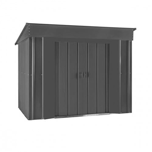 Metal Shed - 6x4 Black Low Pent Lotus - Doors Closed