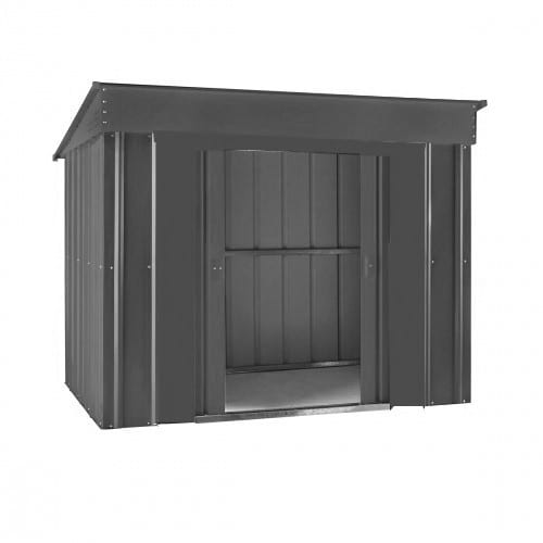 Metal Shed - 6x4 anthracite grey Low Pent Lotus - Doors Open
