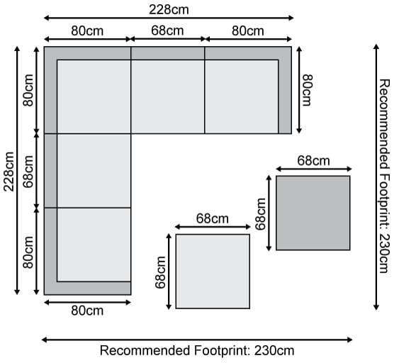 Chelsea Corner Sofa Set - Dimensions