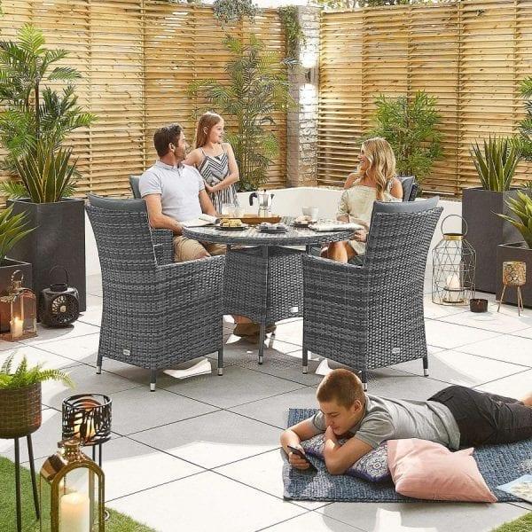 Sienna 4 Seat Set - 1.05m Round Table - Grey