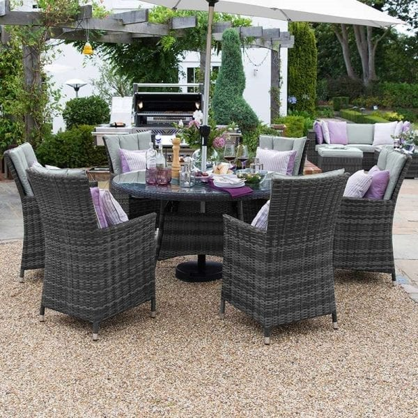 Sienna 6 Seat Set - 1.3m Round Table - Grey