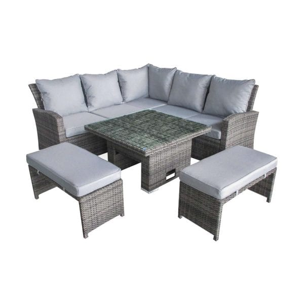 Cambridge Compact Corner Set - Rising Table - Grey