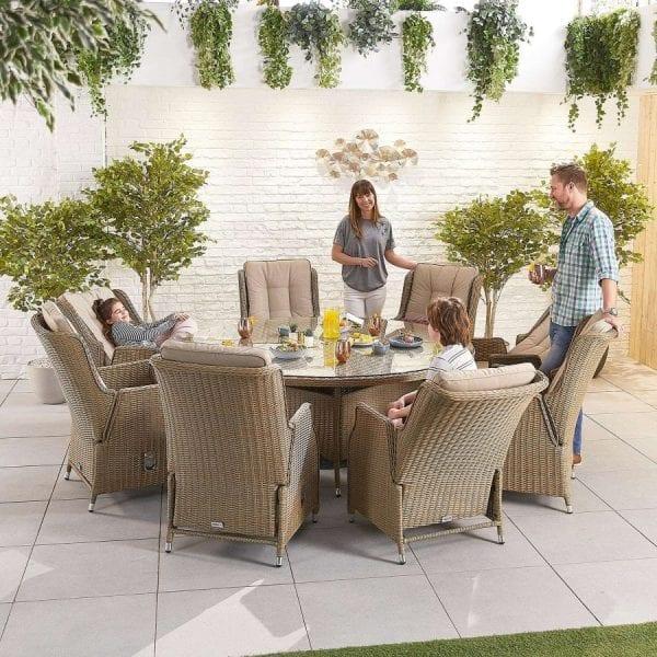 Heritage Carolina 8 Seat Set - 1.8m Round Table - Willow