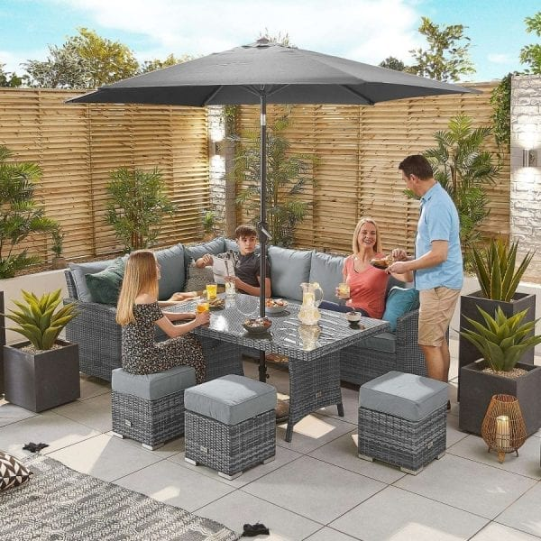 Cambridge Corner Set - Parasol Hole Table - LH - Grey