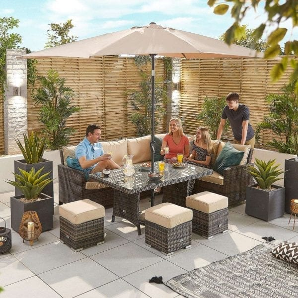 Cambridge RH Corner Dining Set w/ Casual Parasol Table Brown
