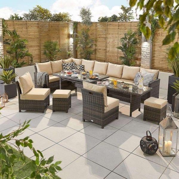 Cambridge Deluxe Corner Set - Extending Table - LH - Brown