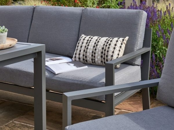 Titchwell Grey Garden Lounge Set - Sofa & Chair Close Up
